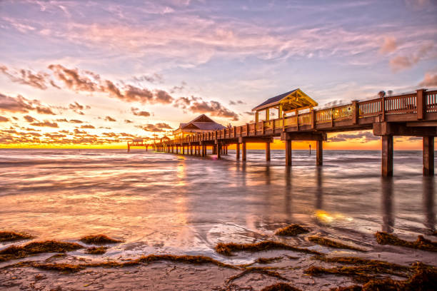 Clearwater Beach Pier at Sunset stock photo