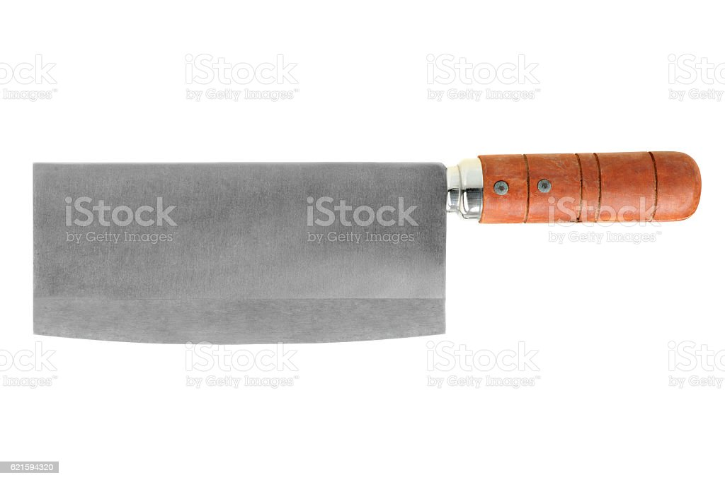 Cleaver knife isolated on white background stock photo