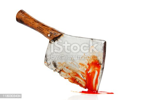 toy meat cleaver with blood isolated on white, murder concept