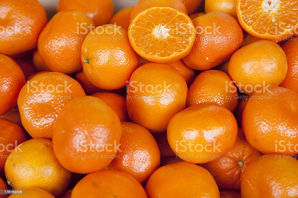 Clementine Oranges On Display In Market, Organic royalty-free stock photo