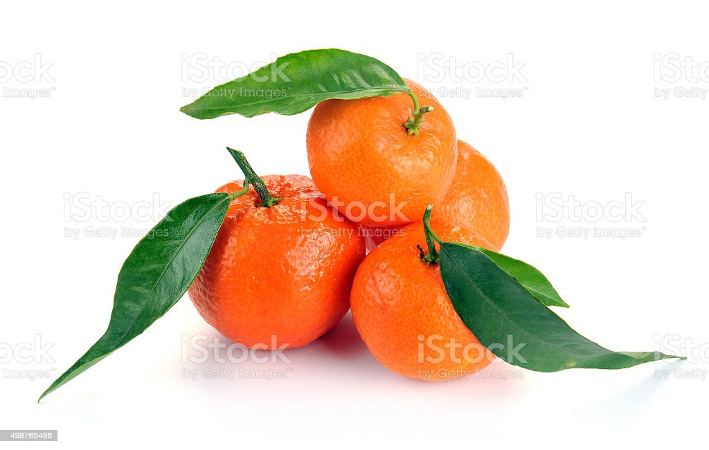 clementines with leaves stock photo