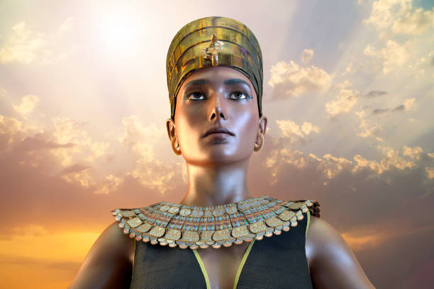 cleopatra ägyptische königin vii jahrhundert von ägypten 3d - ägyptisches make up stock-fotos und bilder