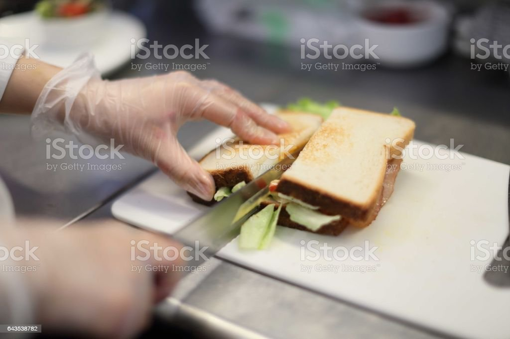 Clerk to make a sandwich stock photo