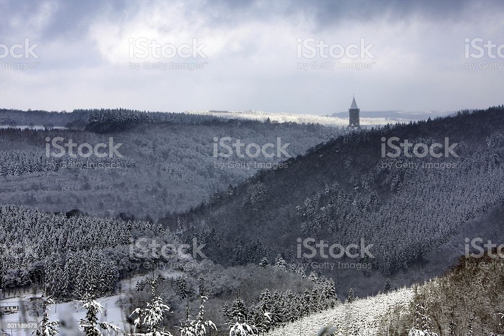 Clervaux, Luxembourg, in Winter stock photo