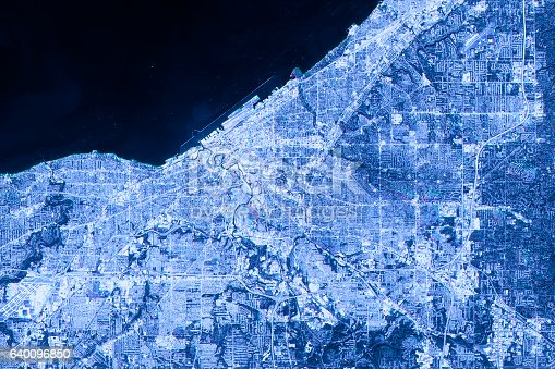 istock Cleveland Abstract City Map Satellite Image Blue Detail 640096850