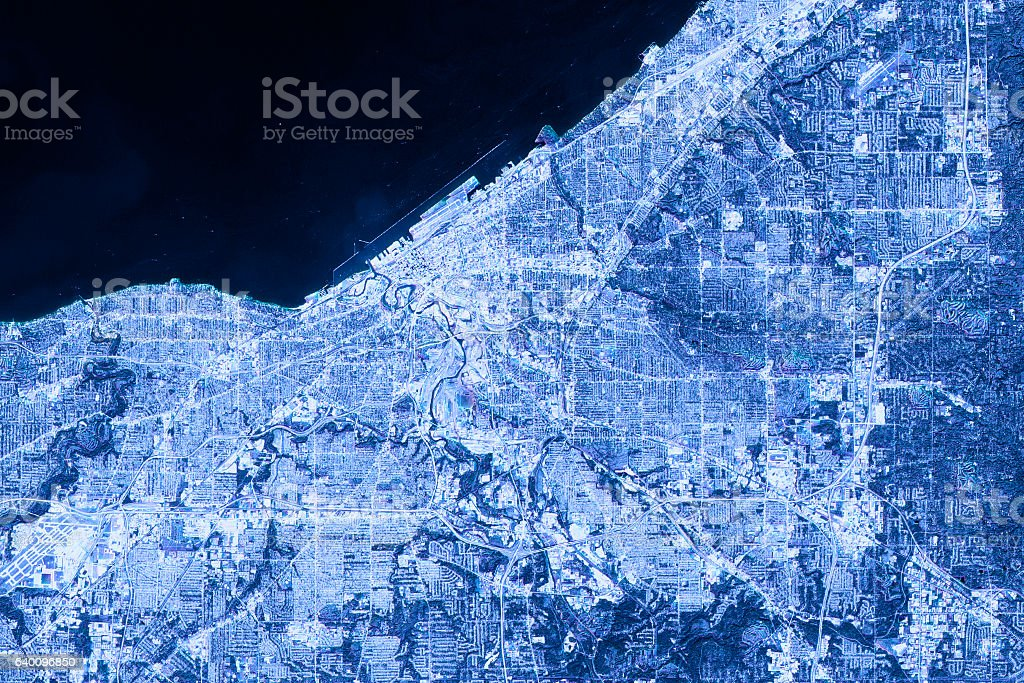 Cleveland Abstract City Map Satellite Image Blue Detail stock photo