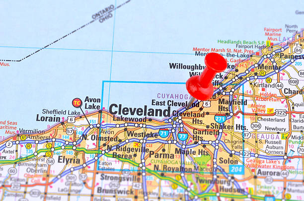 Cleveland and Map stock photo