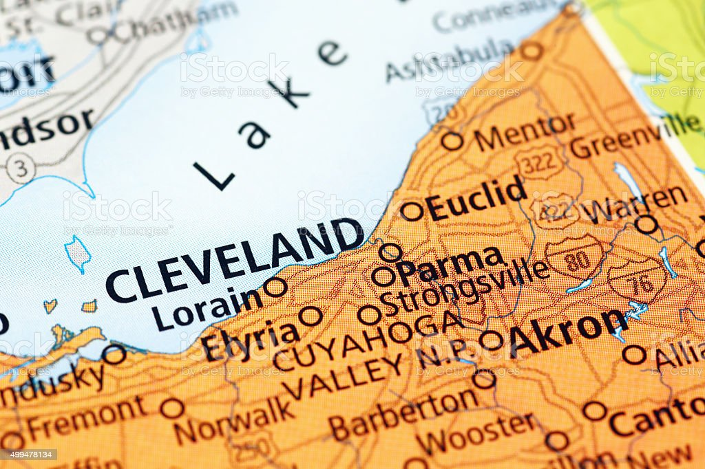 Cleveland Area On A Map Stock Photo IStock - Usa map cleveland