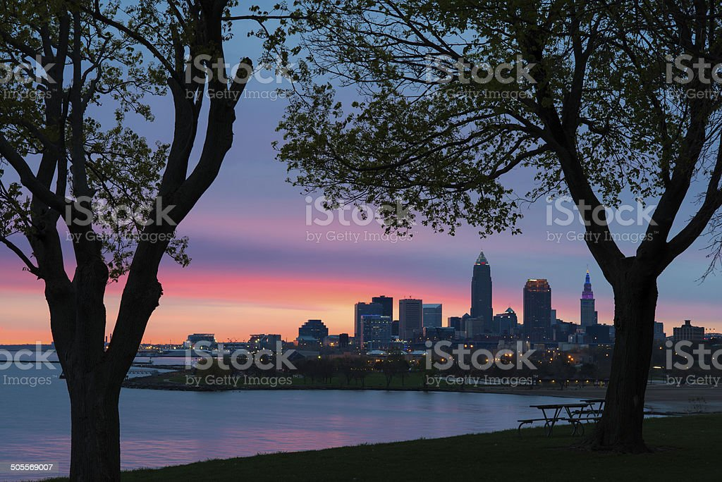Cleveland at Dawn stock photo