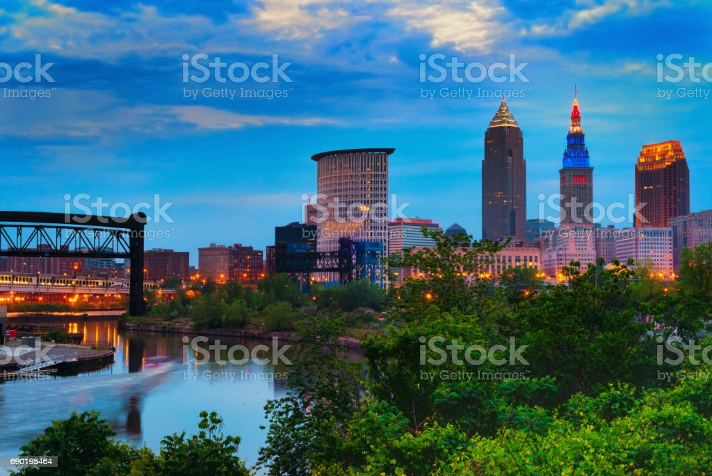 Cleveland at dusk stock photo