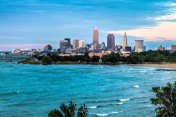 Cleveland at Sunset stock photo