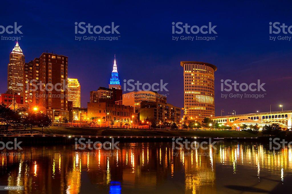 Cleveland blue hour stock photo