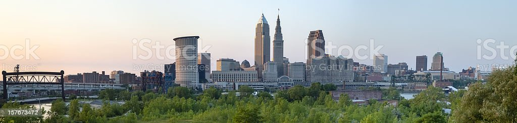 Cleveland Cityscape over Cuyahoga River Panorama stock photo