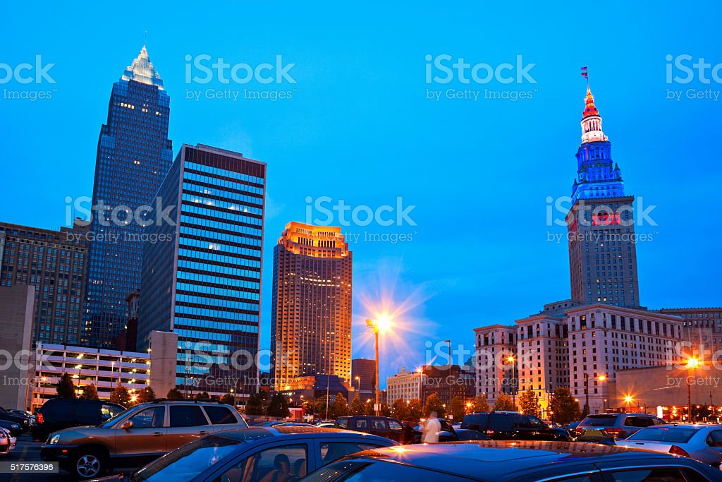 Cleveland downtown evening time stock photo