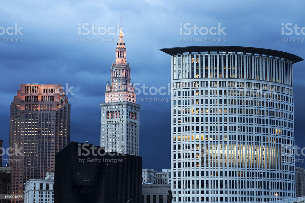 Cleveland evening time stock photo