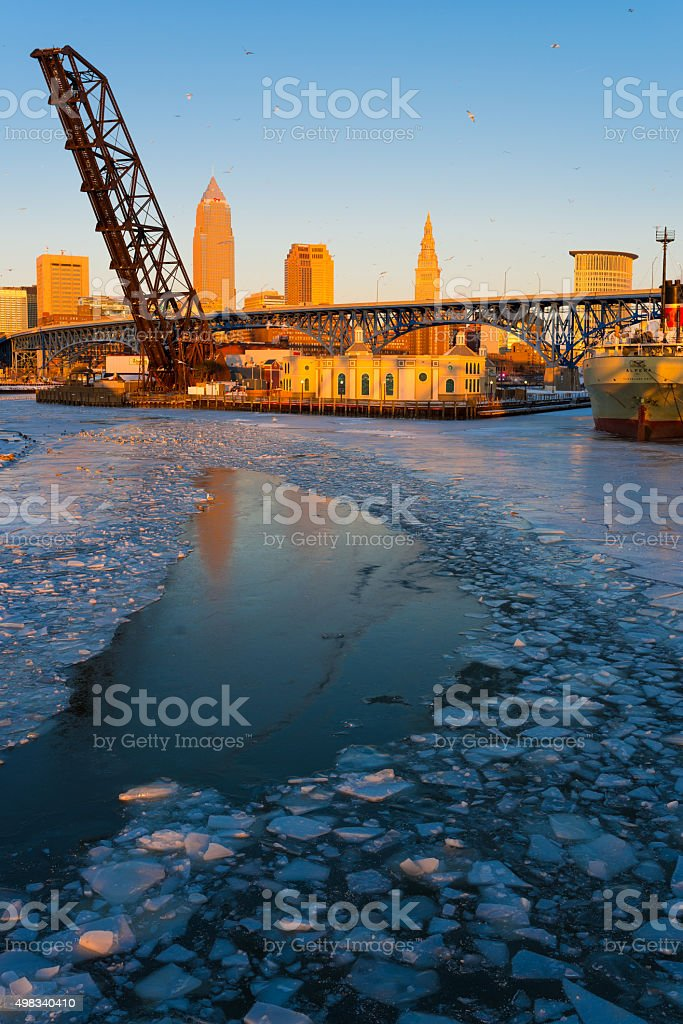Cleveland Flats in Winter stock photo