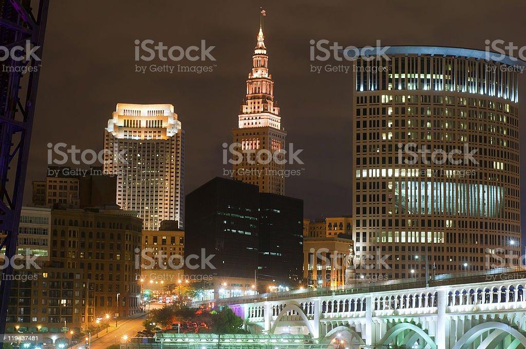Cleveland lit up stock photo