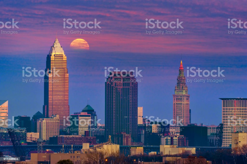 Cleveland moon in clouds stock photo