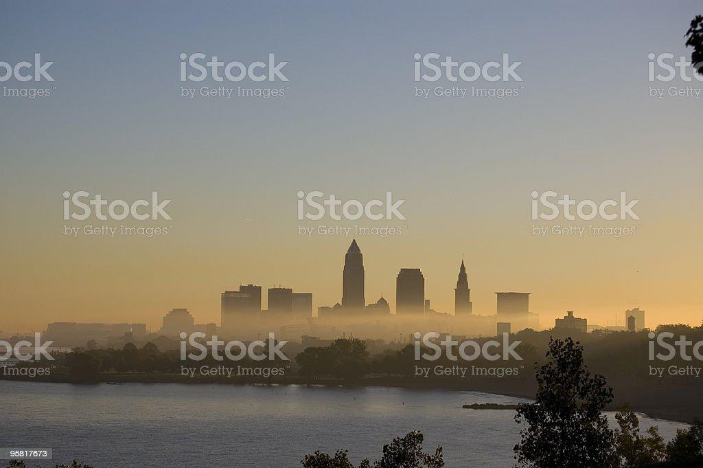 Cleveland Morning Fog stock photo