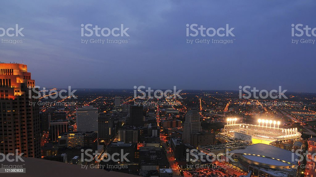 Cleveland night aerial stock photo