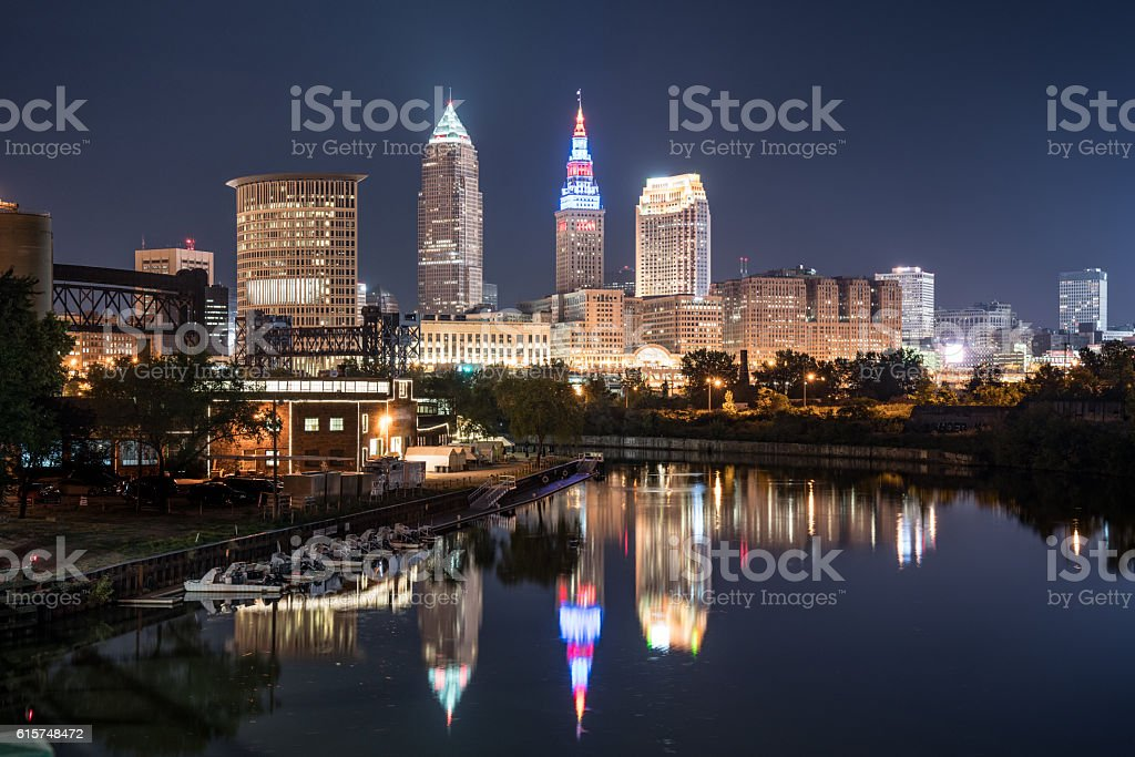 Cleveland Night Skyline stock photo