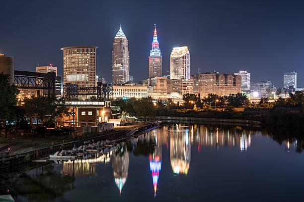Cleveland Night Skyline stock photo