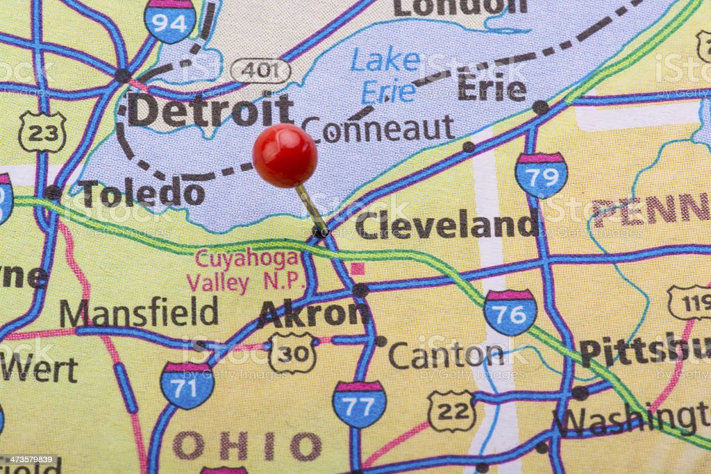 Cleveland Oh Map Pin Stock Photo - Download Image Now - iStock on