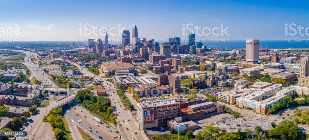 Cleveland Ohio Aerials stock photo