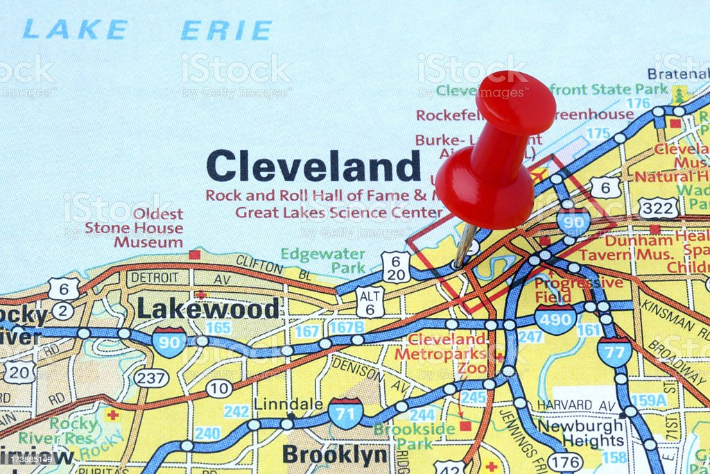 Cleveland Ohio On A Map Stock Photo IStock - Akron on us map
