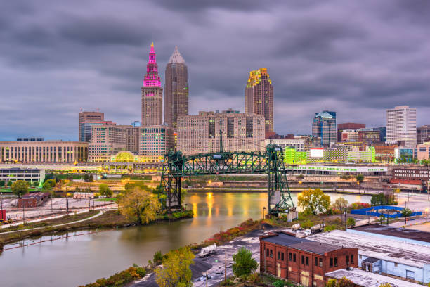 Cleveland, Ohio, USA Skyline Cleveland, Ohio, USA skyline on the river. detroit michigan stock pictures, royalty-free photos & images