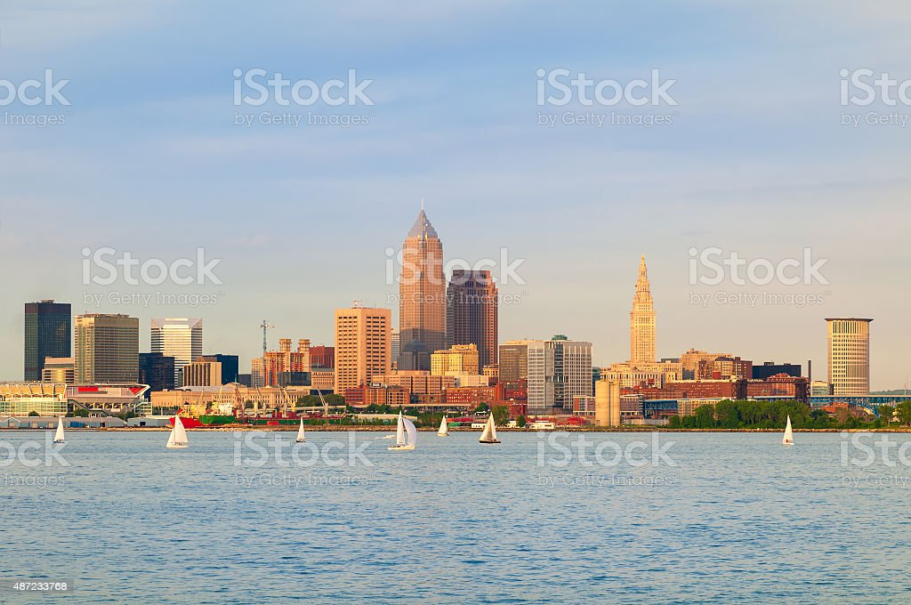 Cleveland on the water stock photo