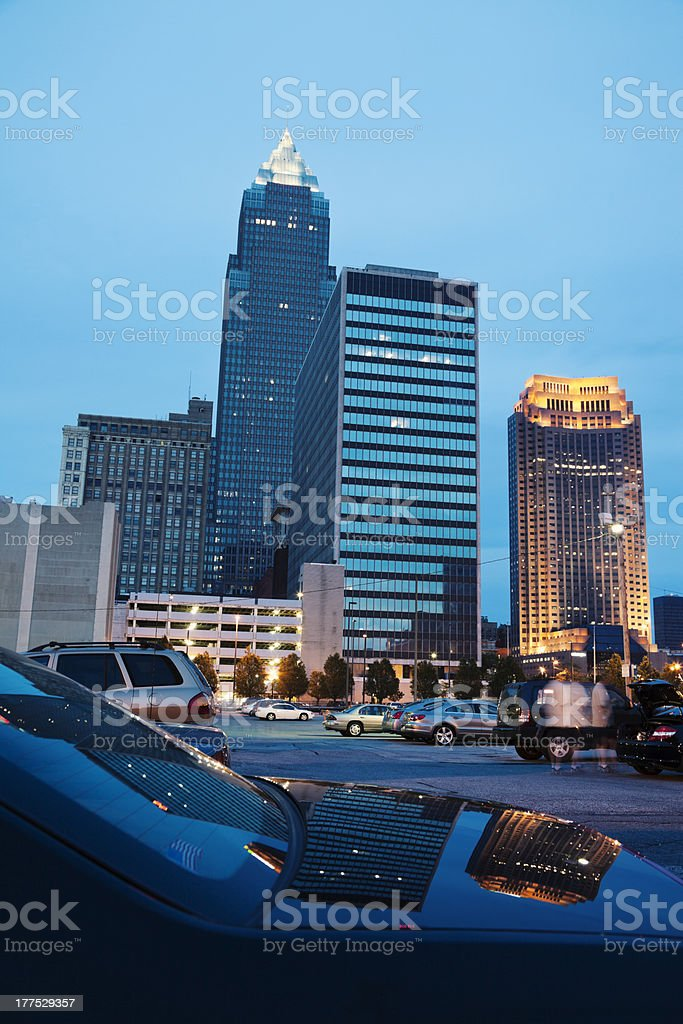 Cleveland reflected in the car stock photo