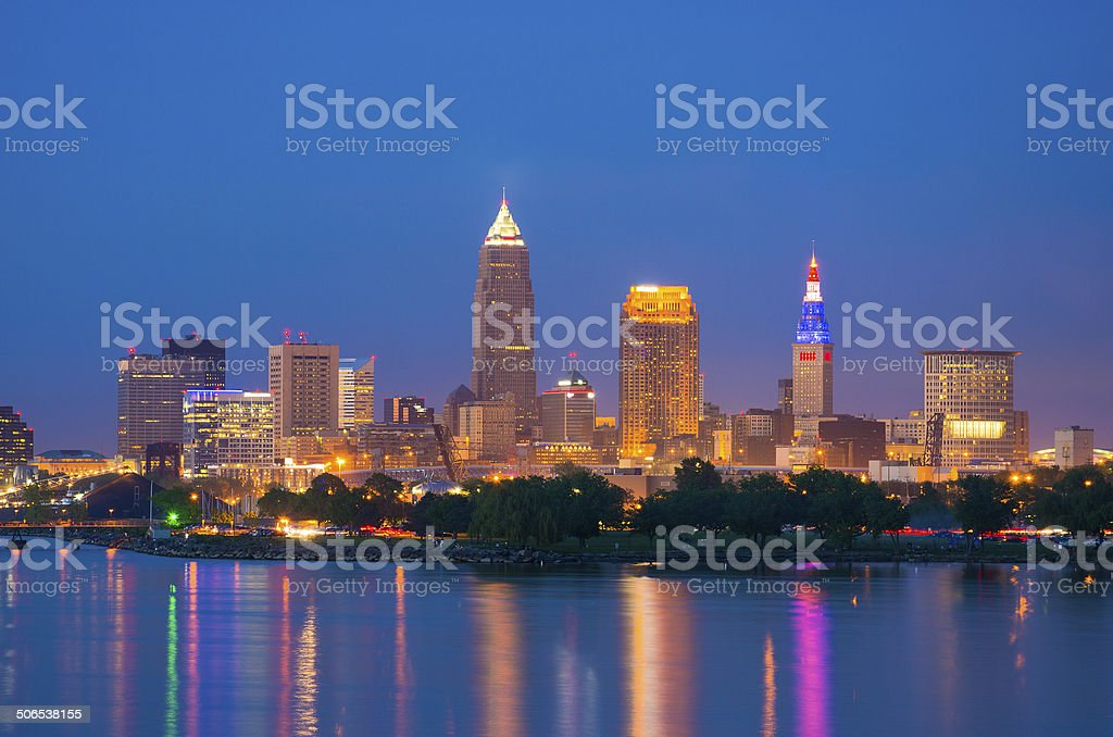 Cleveland skyline and Lake Erie at dusk stock photo