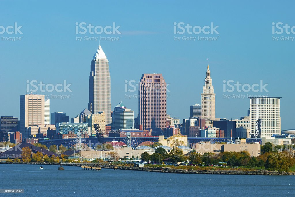 Cleveland skyline and Lake Erie stock photo