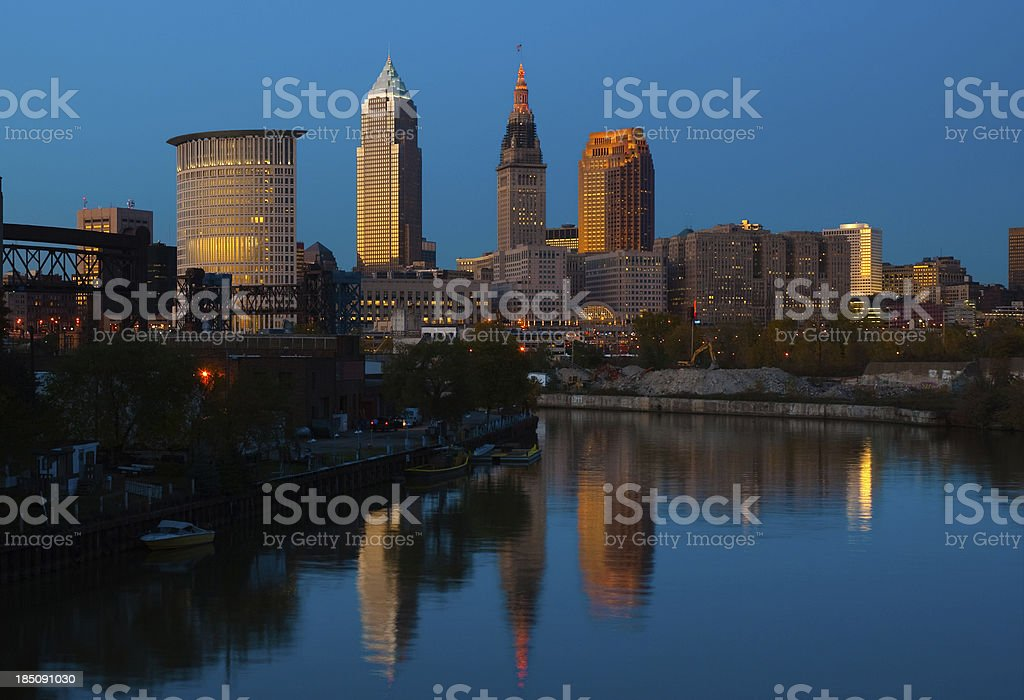 Cleveland skyline and river at dusk stock photo