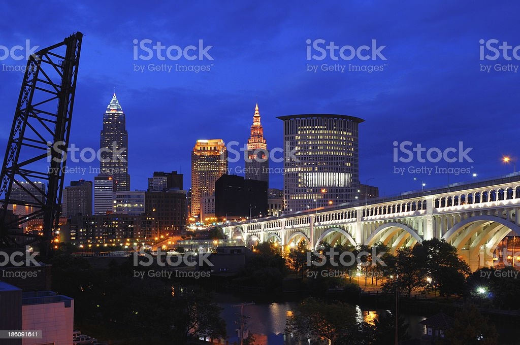 Cleveland skyline at dusk - The BEST view stock photo