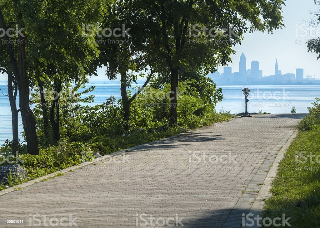 Cleveland Skyline at Lakewood Park in Summertime stock photo