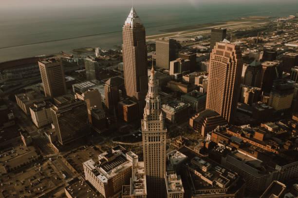 Cleveland Skyline from Above - Birdseye View of Cleveland stock photo