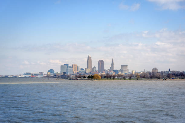 Cleveland Skyline from Lake Erie stock photo
