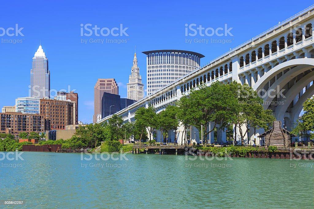 Cleveland skyline, Ohio stock photo