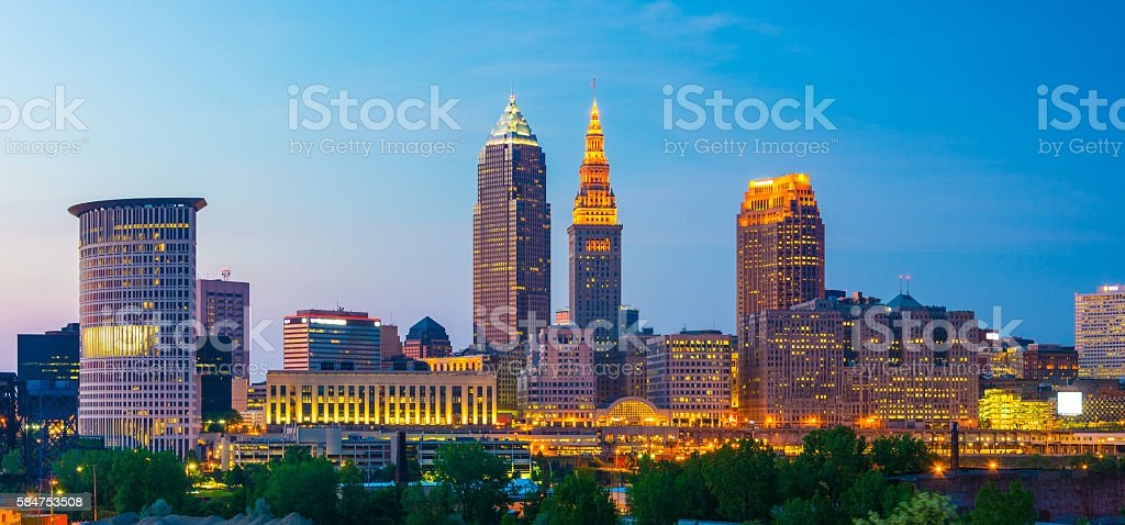 Cleveland Skyline Panorama at Dusk stock photo