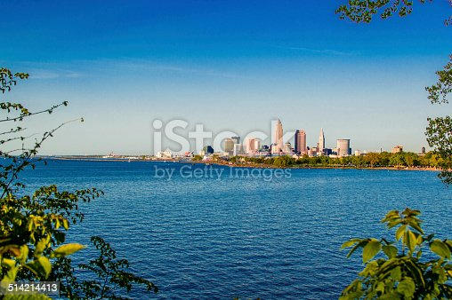 Skyline of Cleveland, OH on Lake Erie
