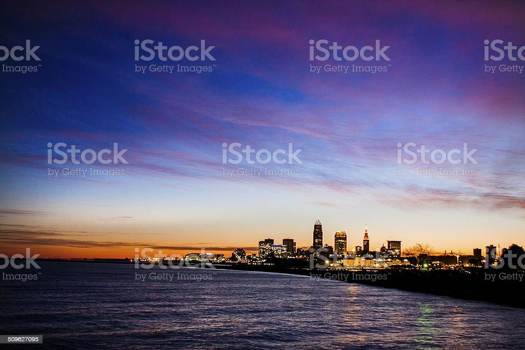 Cleveland Sunrise At Edgewater Park stock photo