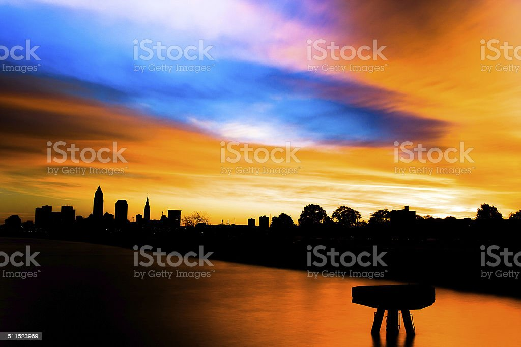Cleveland Sunrise At Edgewater Park With Pier stock photo