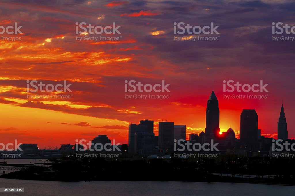 Cleveland sunrise stock photo