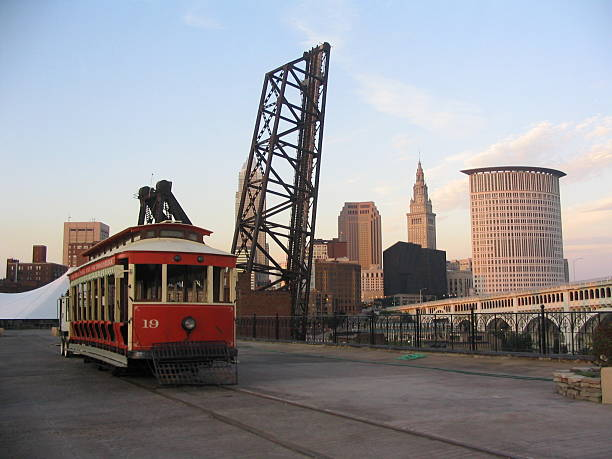 Cleveland Trolley Overlooking the Cuyahoga River and Cleveland skyline bascule bridge stock pictures, royalty-free photos & images