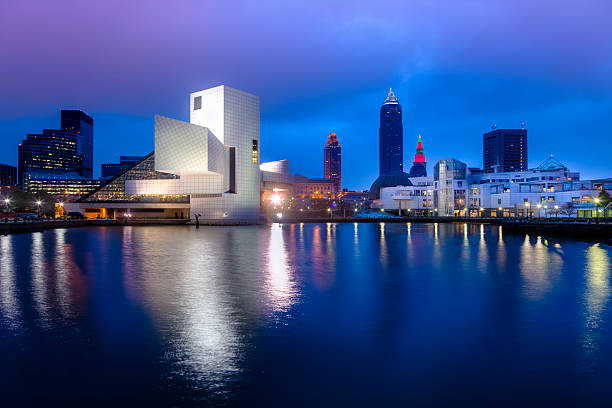Cleveland waterfront in the evening stock photo