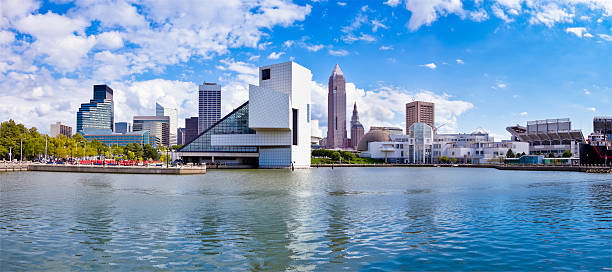 Cleveland Waterfront Panorama with Stadium, Museums and Cleveland Skyline stock photo