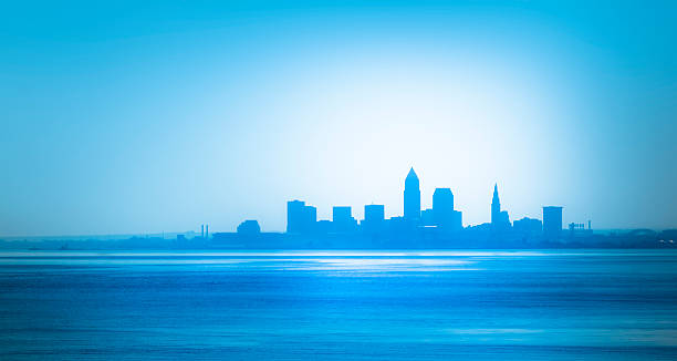 Cleveland Waterfront Skyline from the Western Shore of Lake Erie stock photo