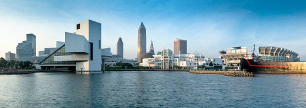 Cleveland's North Coast Waterfront with Stadium and Museums Panorama stock photo